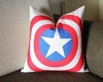 Captain America Cushion Cover,Cotton Linen Pillow Cover, cushion cover sofa bedroom sitting room adornment 376