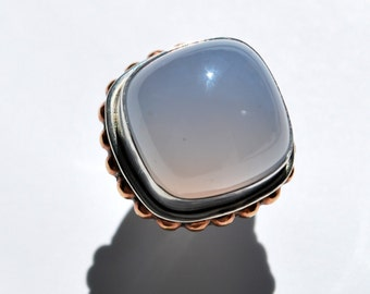 Luminous High Dome Blue Chalcedony, Brass and Sterling Silver Statement Ring, Size 5, Blue Chalcedony Statement Ring, One of a Kind Ring