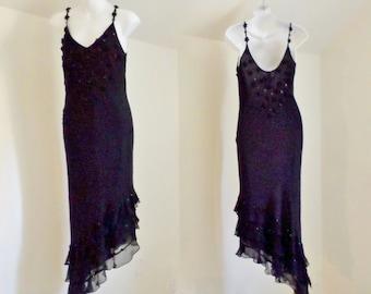 Vintage black pure silk dress - size medium