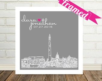 Personalised Wedding Venue Gift Portrait : Charlotte Skyline Wedding Gift Art Print Personalized FRAMED