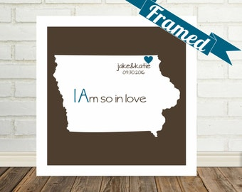 IOWA Map Print Anniversary Gift FRAMED Art Custom Anniversary Gift Iowa Wedding Gift Unique Anniversary Gift Valentines Day Gift