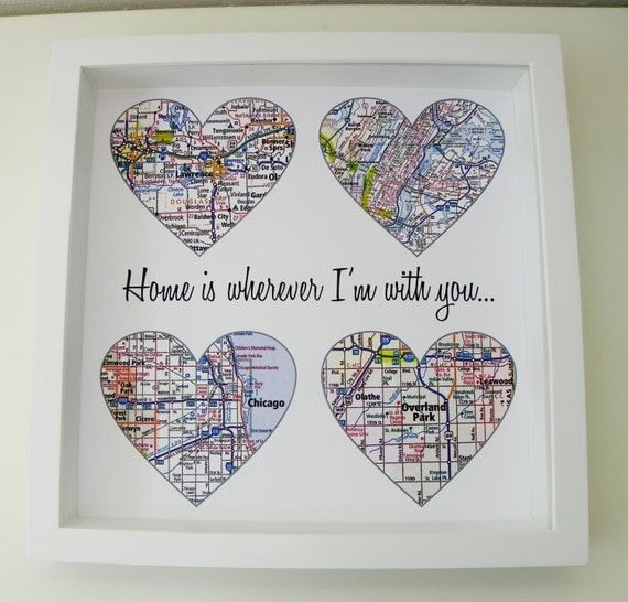 Map Art Wedding Gift : Wedding Gift Personalized Map Heart Art Any Location Available Gift ...