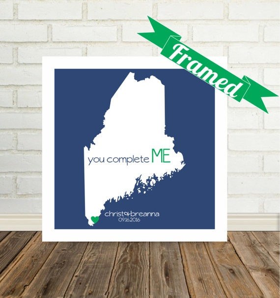 MAINE Map Print Valentines Day Gift FRAMED Maine State Map Personalized State Map Art Wedding Gift Maine Wedding Gift Maine Enagagment