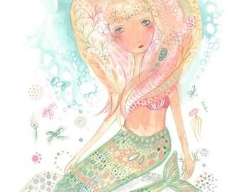 Mermaid print, mermaid art, whimsical girl illustration