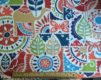 One yard Arabia Confetti fabric red blue green orange tan off white