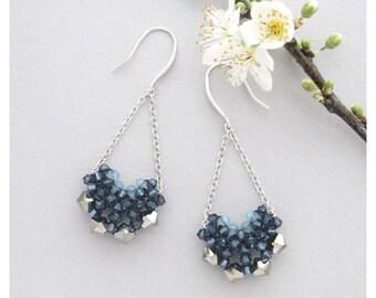 Blue Long Earrings / Dangling Earrings / Teardrop Earrings / Blue Earrings / Chandelier Earrings / Swarovski Earrings / Long Drop Earrings