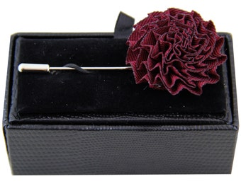 Men's lapel pin brooch chest burgundy flower for Formal Occasions