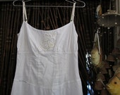 Beautiful White Long Cotton Halter Dress, Adorned with an Adorable Lacy Flower Up Front and Floral Lace Hemline, Vintage - Small