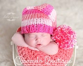 Knit Baby Girl Striped Elf Hat-Knit Newborn Hat-Knit Baby Girl Photography Props-Knit Baby Striped Hat-Knit Photo Props-Newborn Photo Props
