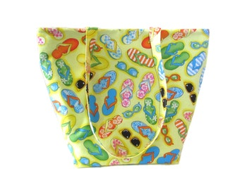 Flip Flops Tote Bag, Summer Bag, Yellow Cloth Purse, Handmade Handbag, Fabric Bag, Sunglasses, Shoulder Bag