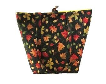 Tote Bag, Thanksgiving Bag, Cloth Purse, Handmade Handbag, Fabric Bag, Autumn, Acorns, Green, Gold, Yellow, Shoulder Bag