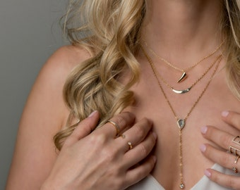 Layering Necklaces - Pave Teardrop Lariat Necklace Abalone - Tusk Necklace - Crescent Necklace