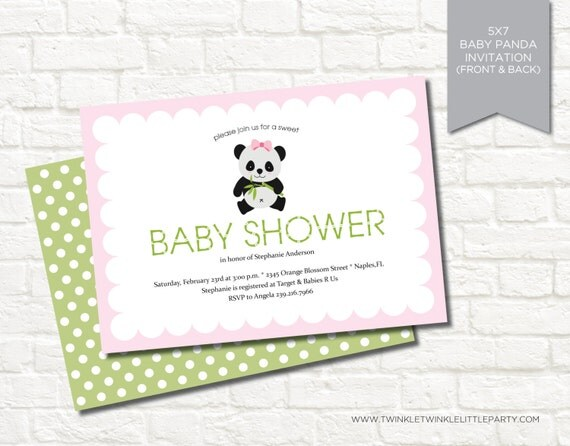 Pink Panda Girl Baby Shower Digital Party Invitation