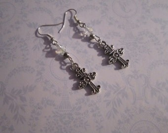 Silvertone Cross Earrings