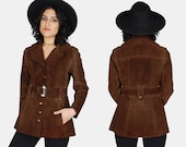 Brown TRENCH Suede LEATHER Jacket Vtg 70's Dark Fitted DISTRESSED Worn In Blazer Hippie Western Belted Exposed Stitching Coat - Small/Medium
