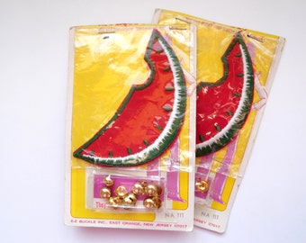Watermelon Slice Patch Rivets Nail Heads Retro 1970 Decorative Embroidery Patch Applique Set E Z Buckle Sewing Supply