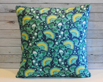 Green yellow blue floral decorative cushion pillow cover sham. One cover for 20x20 insert. Shabby chic abstract colorful boho window seat