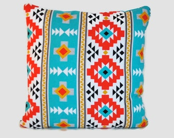 Aztec throw pillow cover cushion cover in turquoise and orange. Mexican boho Southwestern Arizona geometric window seat living room decor