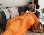 Chunky knit throw blanket in orange with or without 2 modern pillows for sixth scale diorama