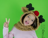Reindeer and Moose Hood - PDF Crochet Pattern - 3 sizes ( Toddler, Child and Adult ) - Beanie Hat Hood Toddler Child Adult Accessorie