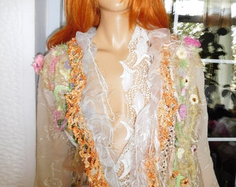 RESERVED jacket cardigan romantic designer fashion  hand embroidered spring summer weddings races at London by golden yarn