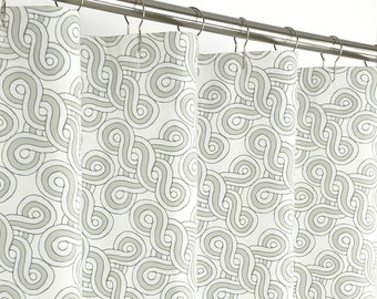 """Taupe Shower Curtain Contemporary - 72"""" Wide x 72, 78, 84, 96 Long - Beige - Chainlink"""