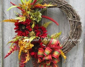Sunflower Wreath, Thanksgiving Wreath, Elegant Fall Wreath, Fall Designer Wreath, Fall Floral Wreath
