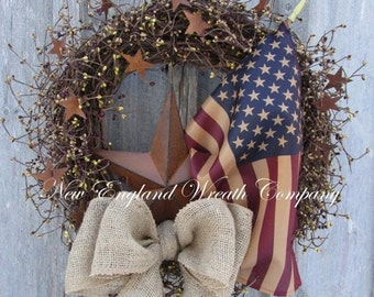 SUPER SALE Americana Wreath, Patriotic Wreath, Fourth of July, Memorial Day, Military, Primitive Patriotic, American Flag Wreath, Tea Staine