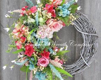 Spring Wreath, Easter Wreath, Spring Floral, Elegant Spring Wreath, Designer Wreath, Country French Wreath, Cottage Wreath, WeddingWreath