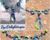 Blue, Green Threaded, Beaded Necklace-Jewelry Gift-Wearable Art