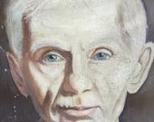 Vintsge Painting of Creepy Old Man Painted in 1965
