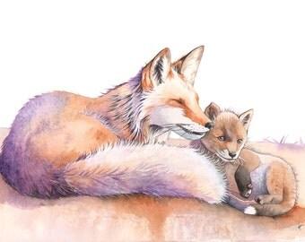 Foxes watercolour painting print, A3 size, F7716, Fox print, foxes watercolor, fox watercolor, woodland animal print, Nursery art