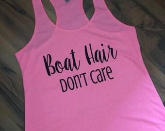 Boat Hair Dont Care Racerback Tank - Glitter Vinyl
