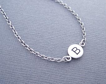Letter B Bracelet, Initial B Bracelet, Initial Bracelet, Silver initial Bracelet, Charm Bracelet