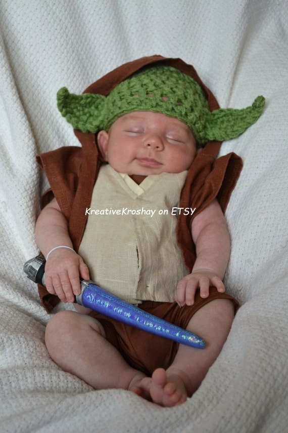 "Chunky Yoda  Hat ""Star Wars Inspired"" / Beanie - GREAT for Star Wars fans (0-3 / 3-6 / 6-12 month sizes)"