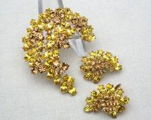 Trifari Rhinestone Brooch Set - Vintage Trifari Brooch - Brooch Earrings Set - Trifari Jewelry