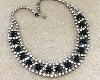 Black Rhinestone Collar Necklace - 1950s Vintage Rhinestone Necklace - Vintage Rhinestone Statement Necklace