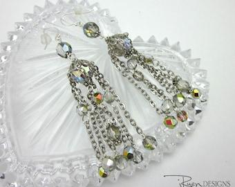 Vintage Chandelier Earrings - Assemblage Crystal Earrings - Waterfall Earrings - Chandelier Crystal Earrings
