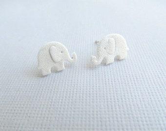 Silver Pearl Baby Elephant Stud Earrings