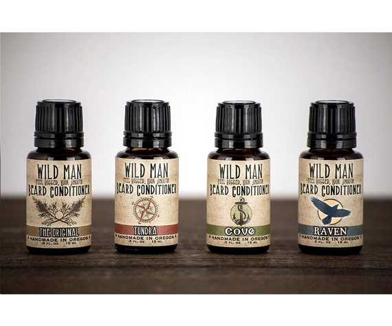 Mens Beard Oil Conditioner Wild Man Sampler Pack - Four 15ml Bottles - Beard Grooming
