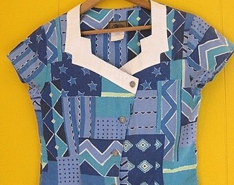 on sale Vintage Cowgirl Blouse Geometic Designs Southwestern Clothing Small Roper Brand Fancy Collar Turquoise Stars