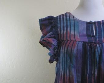 Vintage Ikat, Vintage Dress, Vintage Housedress, Mumu, Flutter Sleeves, Ethnic Dress, Ethnic Style, Pockets Vintage, Vintage Long Dress