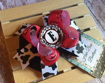 Country monogrammed hair bow , red bandana print and cow print bow