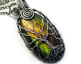Rainbow labradorite tree of life necklace Sterling silver