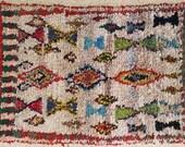 FREE SHIPPING WORLDWIDE L22231 vintage boucherouite rug, moroccan rugs , rag rug, berber tribal art, morocco carpets, wall art