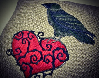 Halloween Decor - Raven and Heart - Embroidered pillow cover
