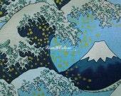 Snow on Mount Fuji, blue, 1/2 yard, gold metallic, pure cotton fabric
