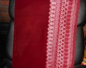 BURGUNDY VELVET  Vintage Japanese Lace shawl  Crochet floral  Fully backed 16.5 x 58 inches