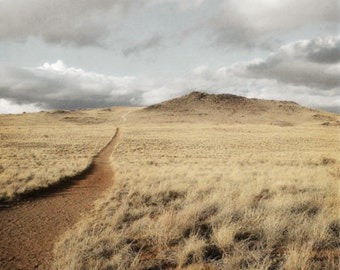 Desert Photography Print Fine Art New Mexico Volcano Trail Rustic Field Clouds Southwest Winter Landscape Photography Print.