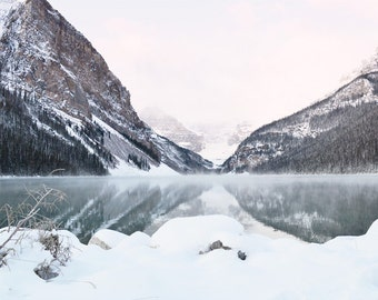 Lake Louise Mountain Photography Print 11x14 Fine Art Banff Canadian Rockies Wilderness Snow Winter Landscape Photography Print.